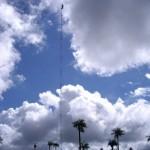 Arbeiten am 50 m hohen Internetmasten