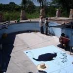 Einbau Logo in Pool